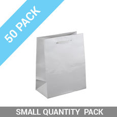 50 PACK - Gloss White Paper Gift Bag Baby