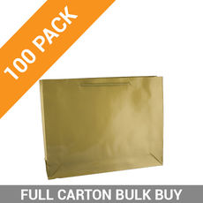 Gloss Gold Paper Gift Bag Large Boutique - 100PK