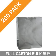 Gloss Silver Paper Gift Bag Medium - 200PK
