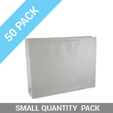 50 PACK - Gloss White Paper Gift Bag Large Boutique