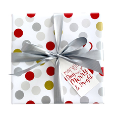 Multi Spot Gold Silver Red Wrapping Paper (500mm x 50 Metres)