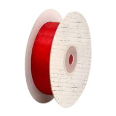 25mm Cut Edge Organza Ribbon - red (25mm x 50 Metres)
