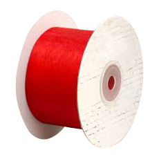 50mm Cut Edge Organza Ribbon - red (50mm x 50 Metres)