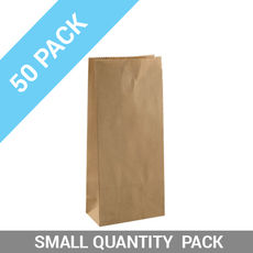 50 PACK - Flat Bottom Brown Bags - Small