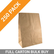 Flat Bottom Brown Bag - Supermarket Large - 250PK