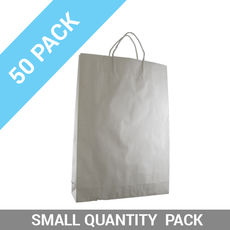 50 PACK - White Kraft Paper Gift Bag Medium