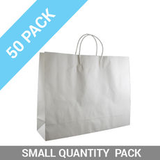 50 PACK - White Kraft Paper Gift Bag Boutique
