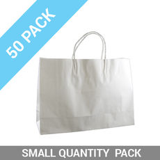 50 PACK - White Kraft Paper Gift Bag Small Boutique