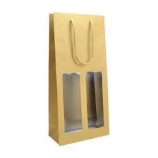 Double Window - Paper Wine Bag Kraft Brown with Window -  100 PACK