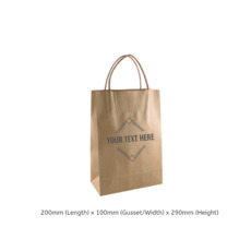 Printed Brown Kraft Paper Gift Bag Junior with Twisted Paper Handle