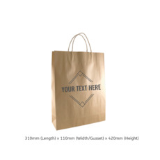 Printed Brown Kraft Paper Gift Bag Midi with Twisted Paper Handles