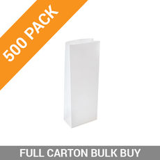 DISCONTINUED 500PK Retail 500g Paper Bag - White Tin Tie