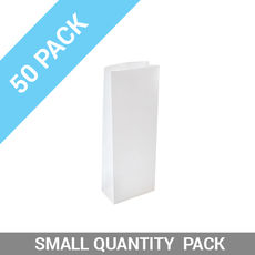 DISCONTINUED 50PK Retail 500g Paper Bag - White Tin Tie