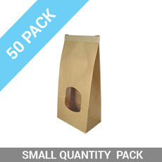 50PK Retail Small Window Bag Brown Tin Tie