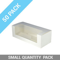 50PK Window Patisserie Box - Long 10 White