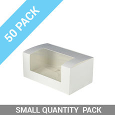 TEMP OUT OF STOCK UNTIL END JUNE - 50PK Window Patisserie Box - Long 7 White