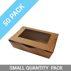 50PK Lunch Boxes Window - Large Brown