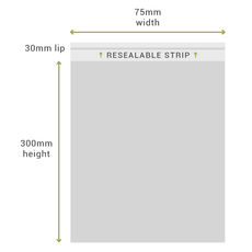 75mm x 300mm + 30mm Lip Clear Resealable Bags (100PK)