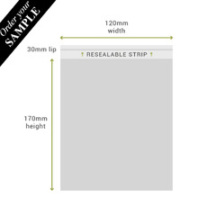 SAMPLE - 120mm x 170mm + 30mm Lip Clear Resealable Bags (100PK)
